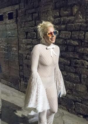 Lady Gaga - Leaving a restaurant in Perugia