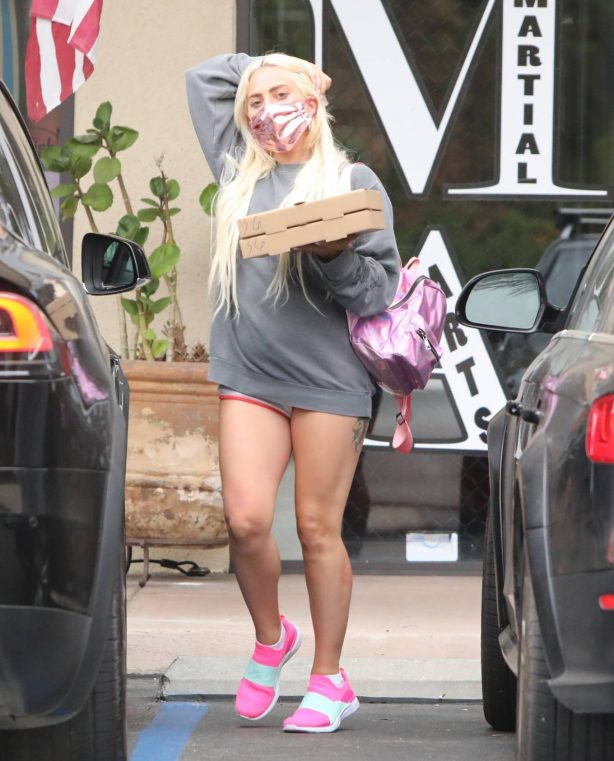 Lady Gaga - Leaving a restaurant with her boyfriend in Malibu