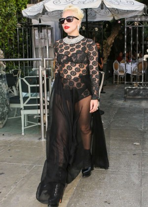 Lady Gaga - Leaving Pump Restaurant in LA