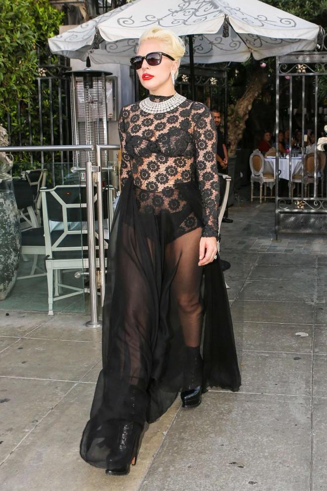 Lady Gaga - Leaving Pump Restaurant in LA