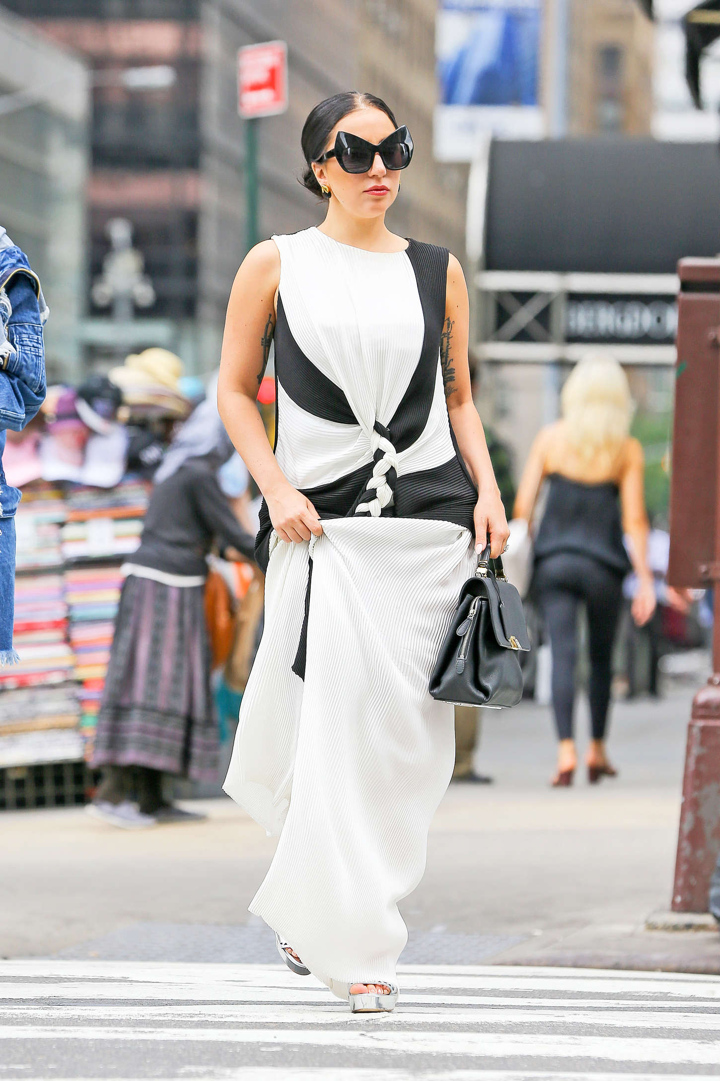 Lady Gaga in Long Dress Out in NYC
