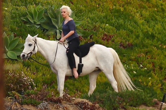 Lady Gaga - Riding a horse in Malibu