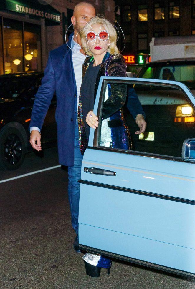 Lady Gaga - Seen in a Vintage Mercedes in NYC