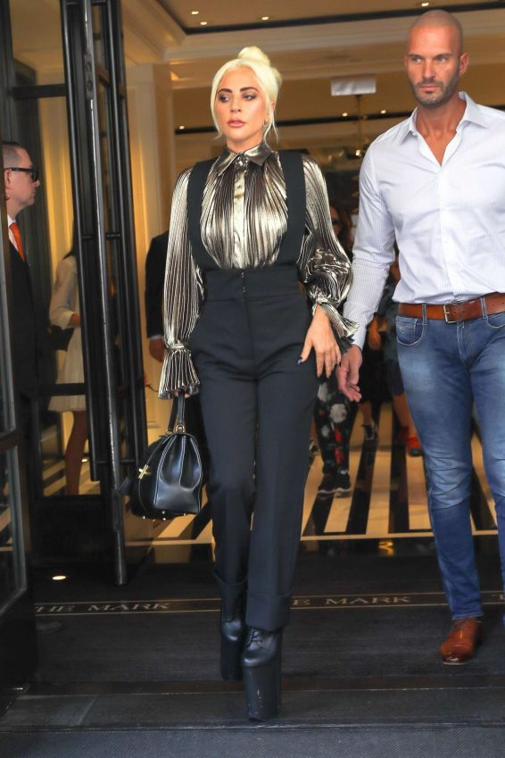 Lady Gaga – Wear Gold Blouse paired with Trousers as she Steps out in New York City-01