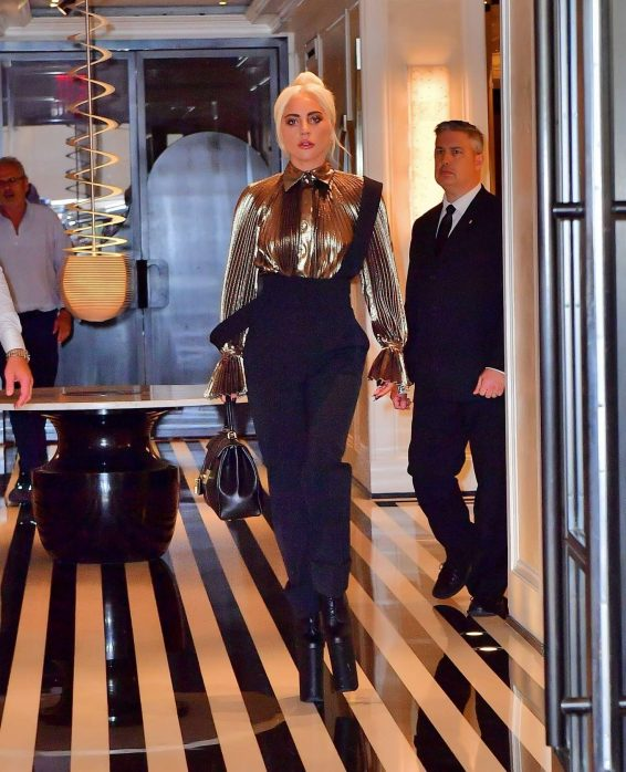Lady Gaga – Wear Gold Blouse paired with Trousers as she Steps out in New York City-03