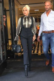 Lady Gaga - Wear Gold Blouse paired with Trousers as she Steps out in New York City