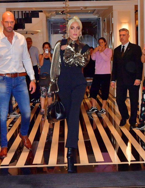 Lady Gaga – Wear Gold Blouse paired with Trousers as she Steps out in New York City-05