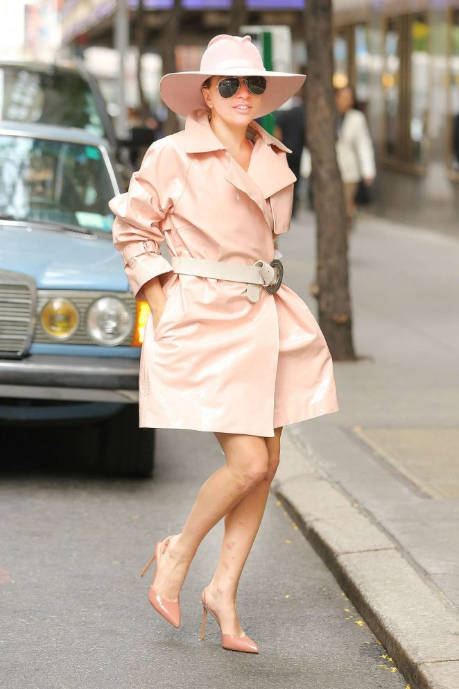 Lady Gaga - Wearing baby pink trench coat out in NY