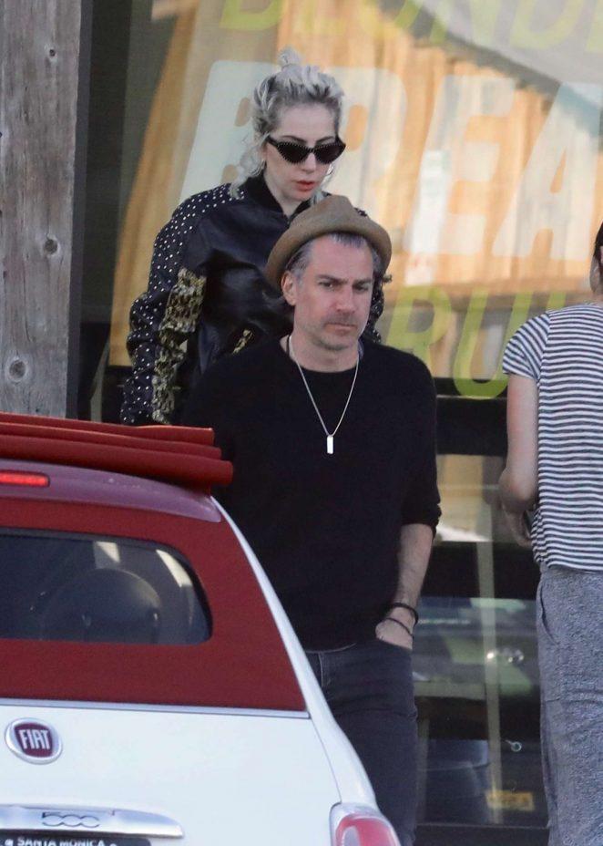 Lady Gaga with fiance Christian Carino - Leaving a Starbucks in Malibu