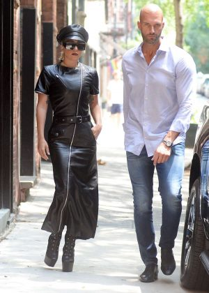 Lady Gaga with her boyfriend Christian Carino heading to photoshoot in NY