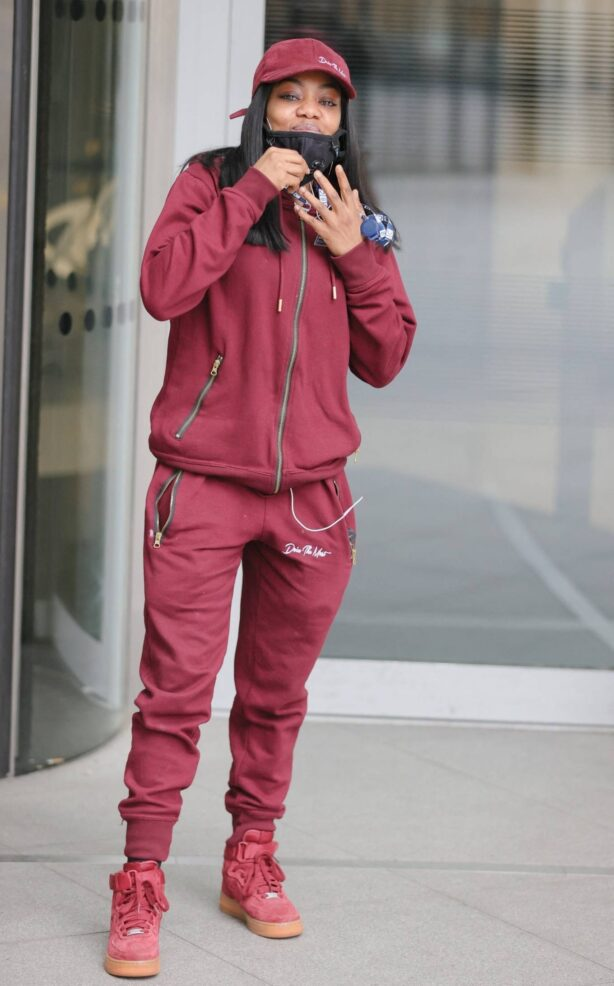 Lady Leshurr - Out in a burgundy tracksuit in London