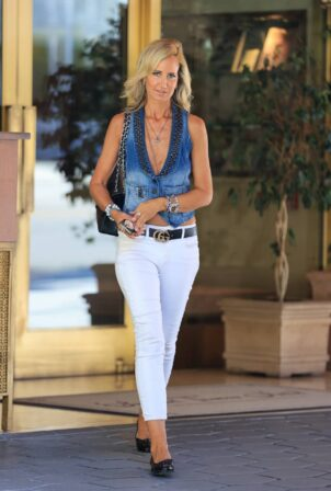 Lady Victoria Hervey - In a denim vest seen leaving Sunset Towers Hotel in Los Angeles