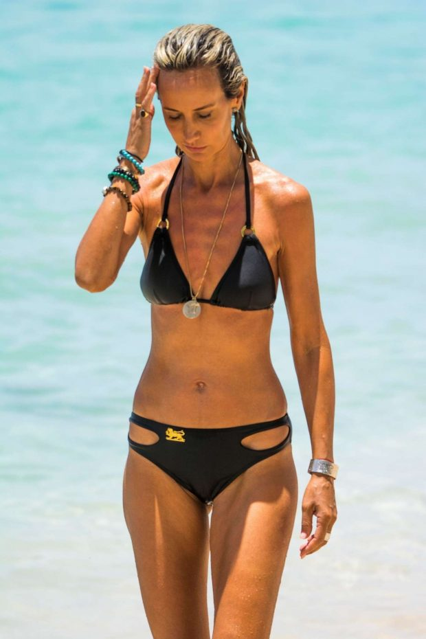 Lady Victoria Hervey in Black Bikini at a beach in Barbados