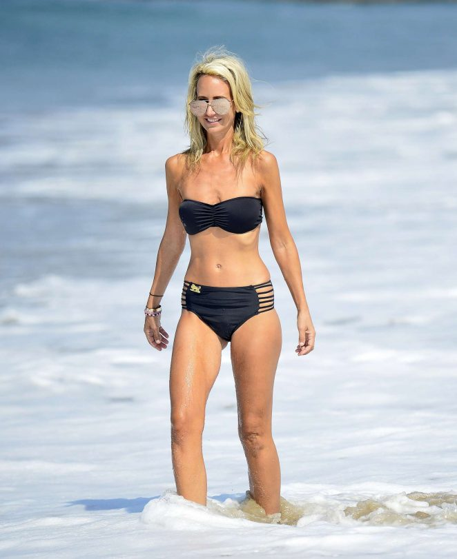 Lady Victoria Hervey in Black Bikini at the beach in Los Angeles