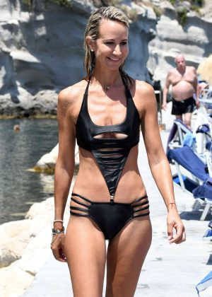 Lady Victoria Hervey in Black Bikini in Ischia