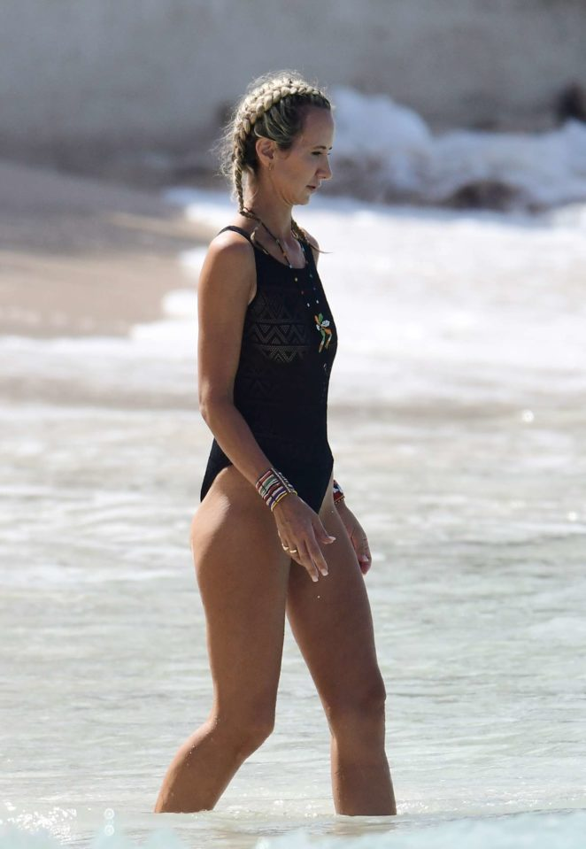 Lady Victoria Hervey in Black Swimsuit on the beach in Barbados