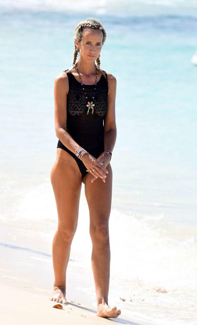 Lady Victoria Hervey in Black Swimsuit -14
