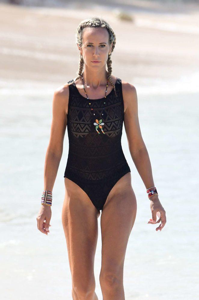 Lady Victoria Hervey in Black Swimsuit -26