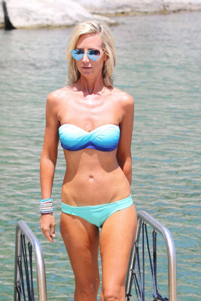 Lady Victoria Hervey in Blue Bikini at the beach in Naples