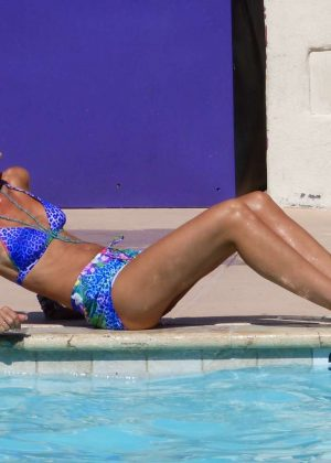 Lady Victoria Hervey in Blue Bikini at the pool in Palm Springs