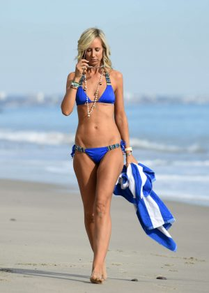 Lady Victoria Hervey in Blue Bikini on the beach in Malibu