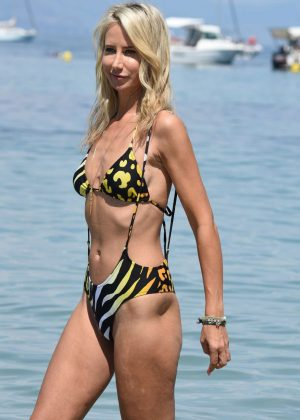Lady Victoria Hervey in Colorful Bikini at Keller Beach in Antibes