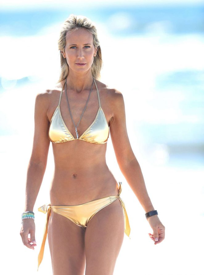 Lady Victoria Hervey in Gold Bikini on the beach in Los Angeles