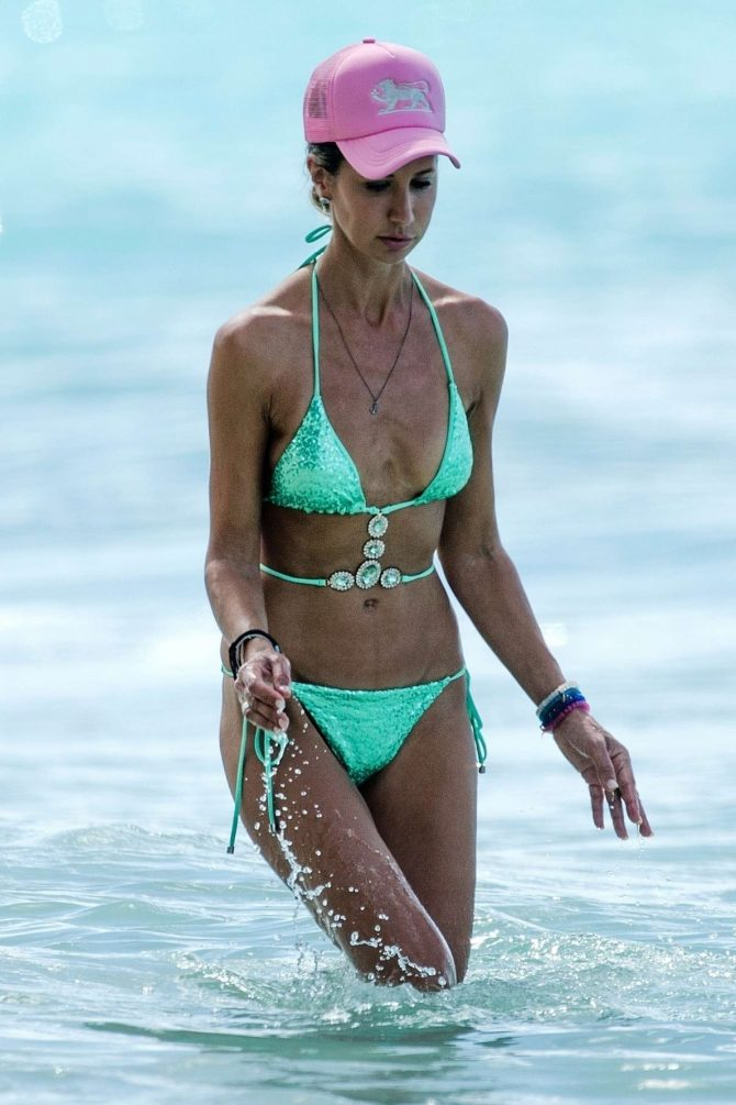 Lady Victoria Hervey in Green Bikini on the beach in Barbados