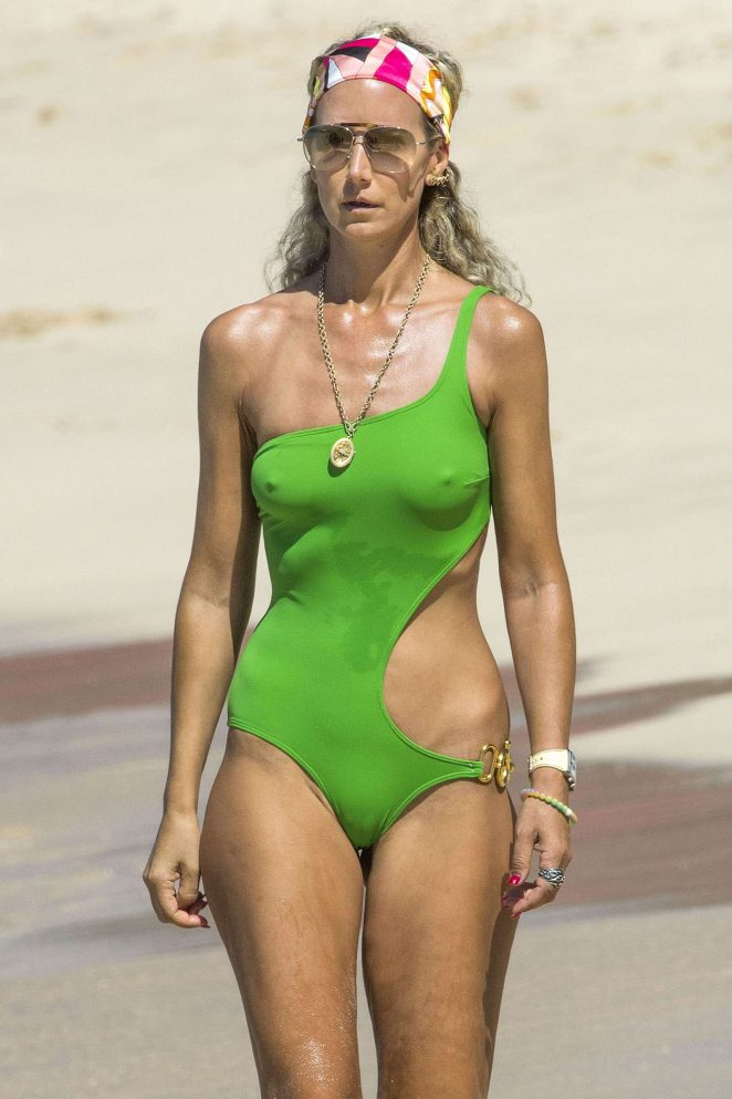Lady Victoria Hervey in Green Swimsuit in Barbados