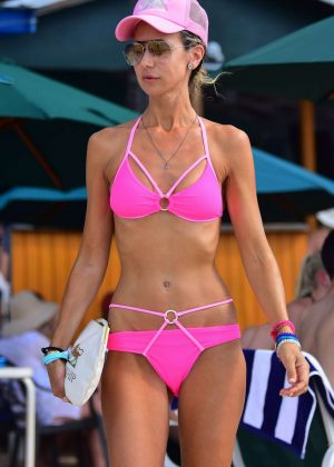 Lady Victoria Hervey in Pink Bikini on a beach in Barbados