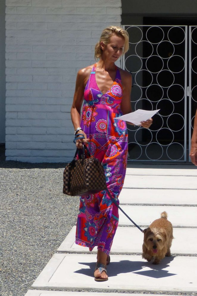 Lady Victoria Hervey in Pink Dress out in Palm Spring