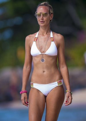 Lady Victoria Hervey in White Bikini at the beach in Barbados