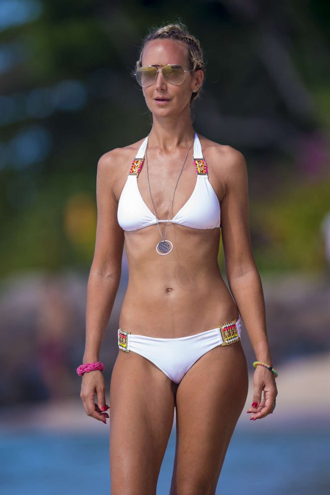Lady Victoria Hervey in White Bikini at the beach in Barbados