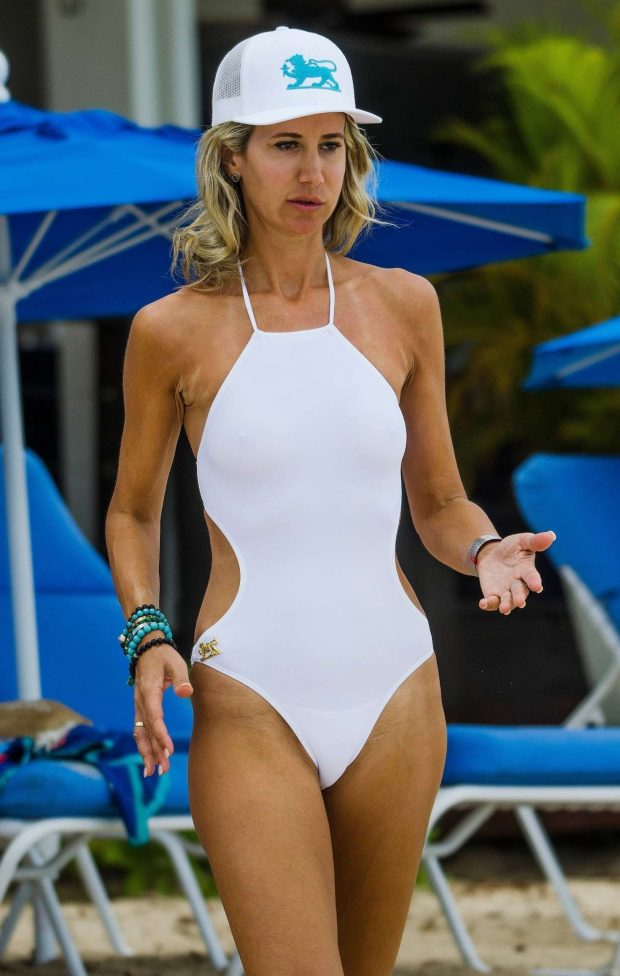 Lady Victoria Hervey in White Swimsuit at a beach in Barbados