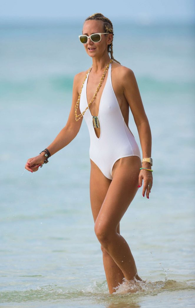 Lady Victoria Hervey in White Swimsuit in Barbados