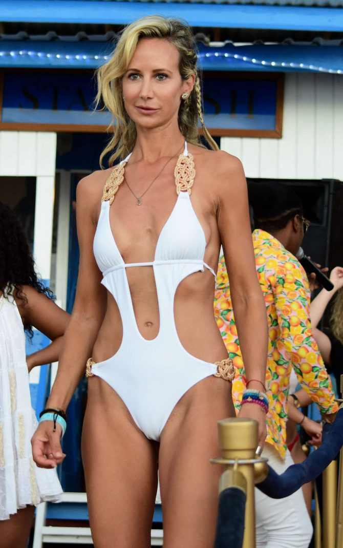 Lady Victoria Hervey in White Swimsuit on the beach in Barbados