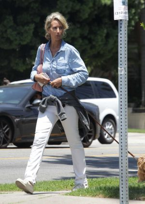 Lady Victoria Hervey Walking her Dog in Hollywood