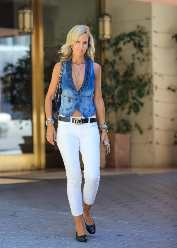 Lady Victoria Hervey - Weara denim vest at Sunset Towers Hotel