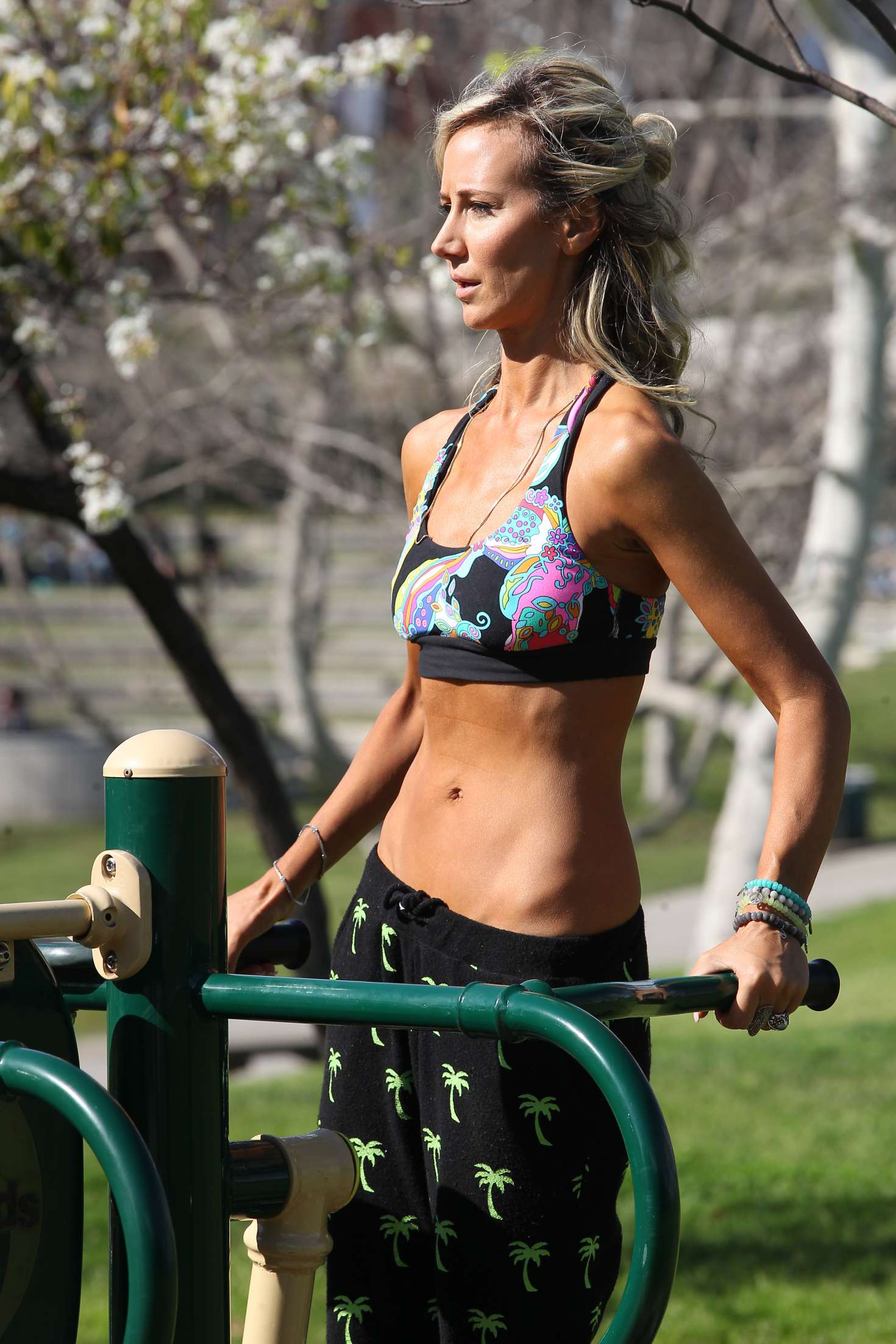 Lady Victoria Hervey working out at a park in West Hollywood