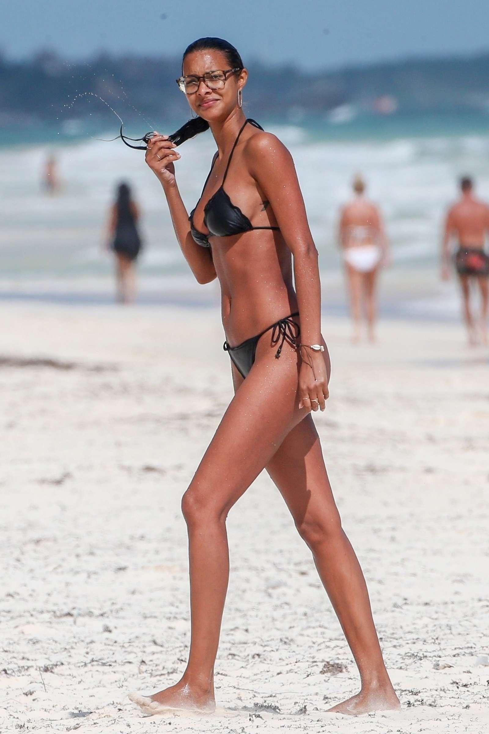 Lais Ribeiro in Black Bikini on the beach in Tulum