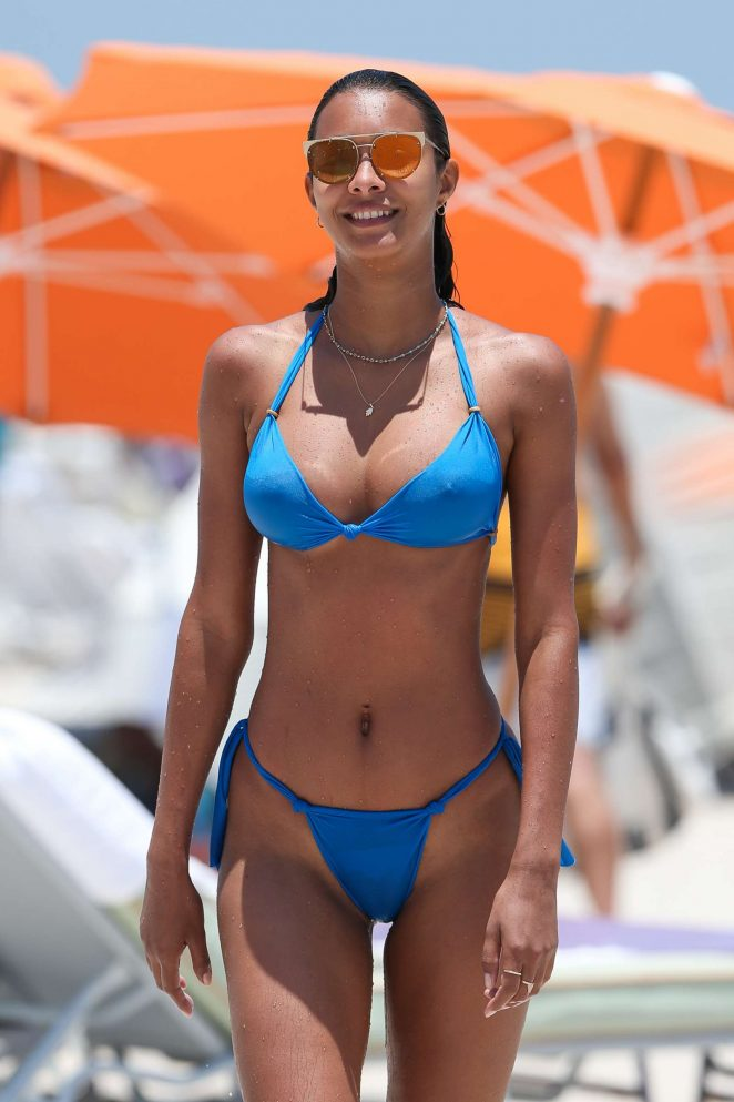Lais Ribeiro in Blue Tiny Bikini on the beach in Los Angeles