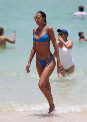 Lais Ribeiro In Blue Tiny Bikini