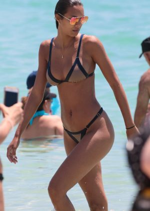 Lais Ribeiro in Brown Bikini on the beach in Miami