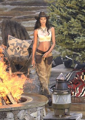 Lais Ribeiro Shooting a commercial for Victoria Secret's upcoming holiday catalog in Aspen
