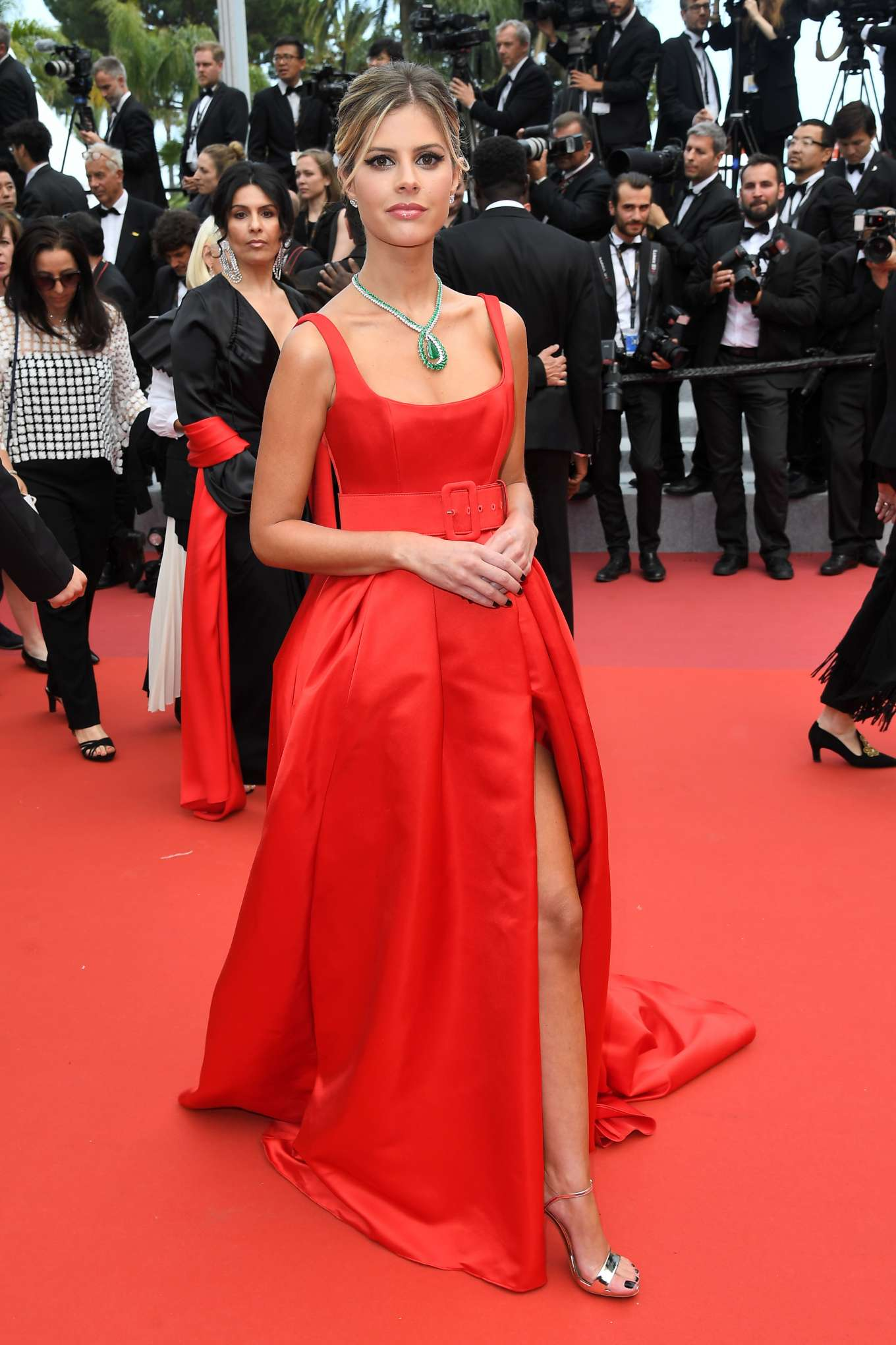 Lala Rudge red dress