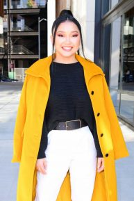 Lana Condor - In a yellow coat posing while out in NYC