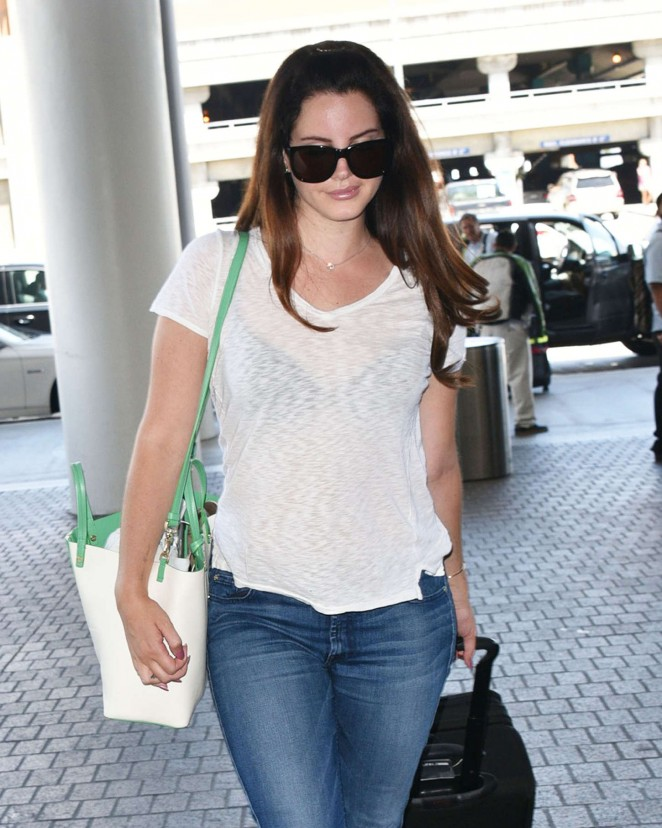 Lana Del Rey in Jeans at LAX airport in LA