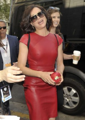 Lana Parrilla in Red Leather Dress at Comic-Con 2016 in San Diego