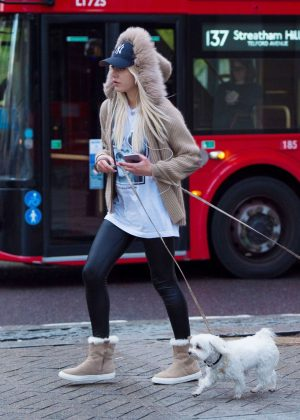 Lana Scolaro with her dog in London