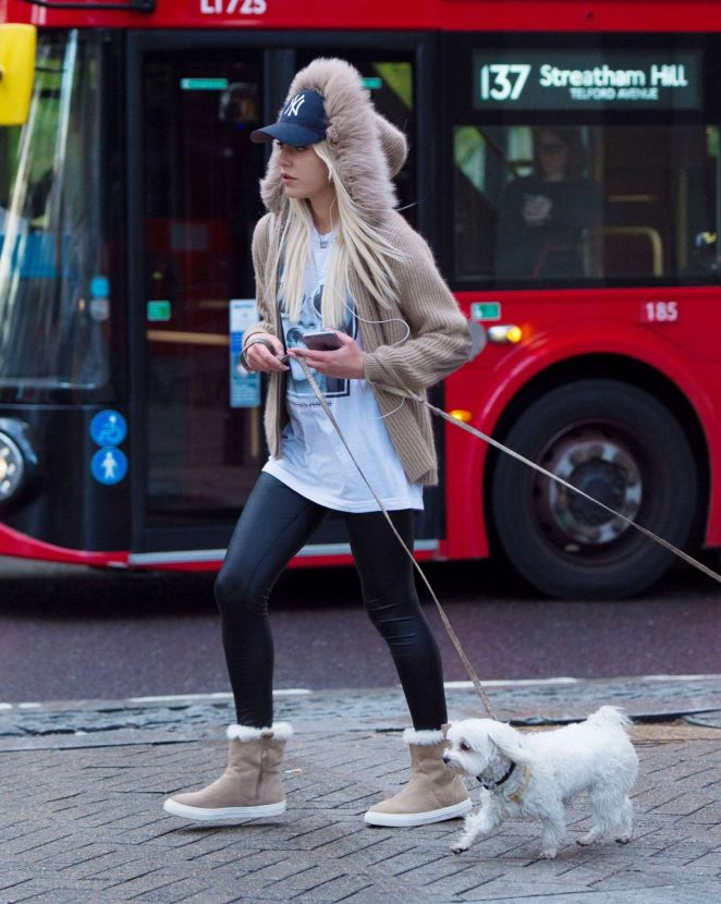 Lana Scolaro with her dog in London -03